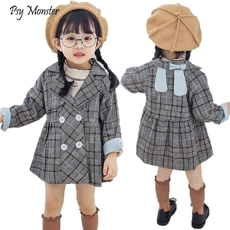 46c4aabfa Spring Autumn New Children's Plaid Jacket Girls Korean Fashion Windbreaker  Baby Kids Cut Outwear Coats