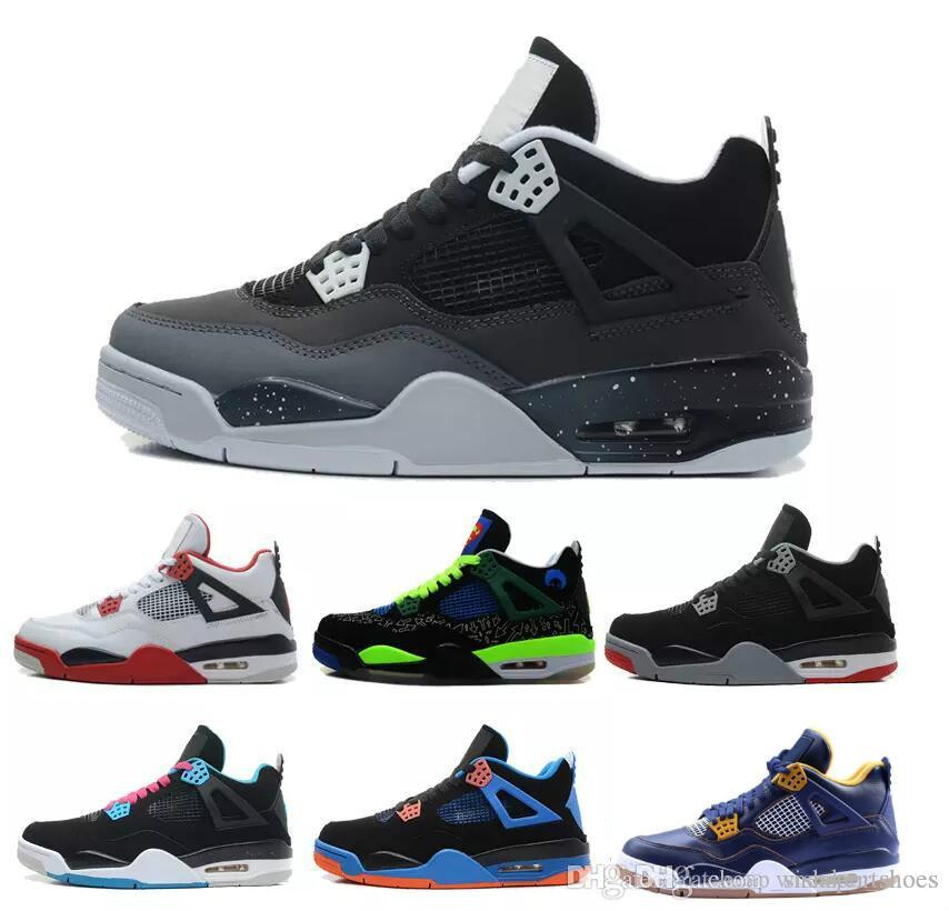 1a3dc856f94 2018 4 4s Basketball Shoes Men 4s Pure Money Royalty White Cement Premium  Black Bred Fire Red Mens Sports Sneakers Size 8 13 Basketball Trainers  Basketball ...