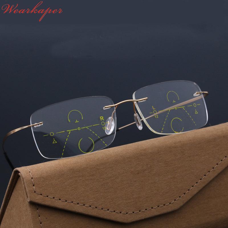 f48cad5cd9 Compre Wearkaper Gafas De Lectura Progresivas Inteligentes Lentes  Multifocales Sin Montura Multifuncionales Sin Montura Y Lejanos Gafas  Bifocales C19042001 ...