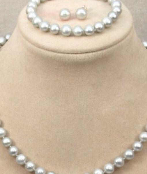 gioielli Miss fascino Jew.583 hot genuino 9-10MM south sea grey pearl necklace bracelet earring stud set