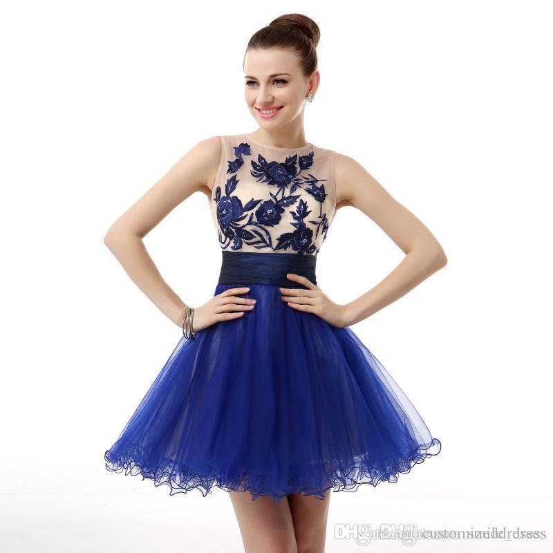 Vestidos de fiesta cortos color azul