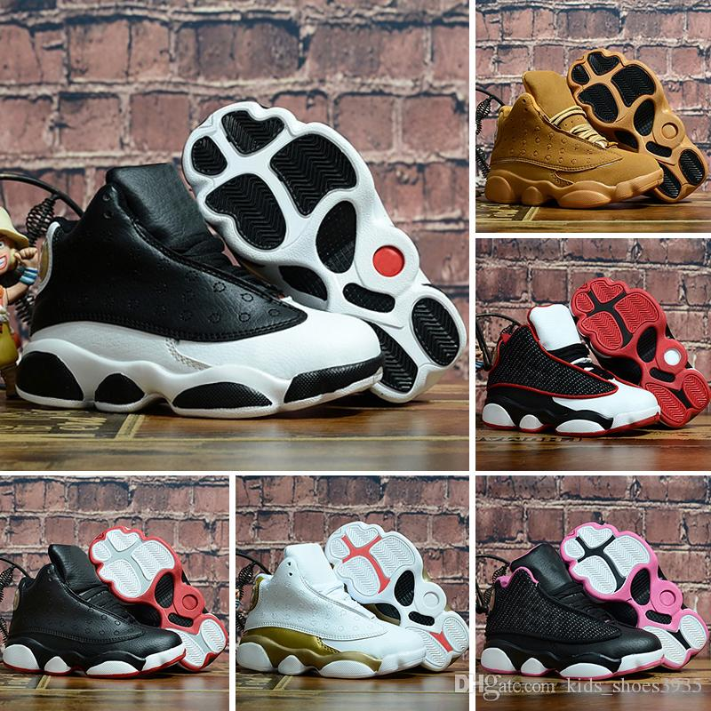 the latest 39161 d8109 Bred XI 13S Kids Basketball Shoes Gym Red Infant & Children toddler Gamma  Blue Concord 13 trainers boy girl tn sneakers Space Jam