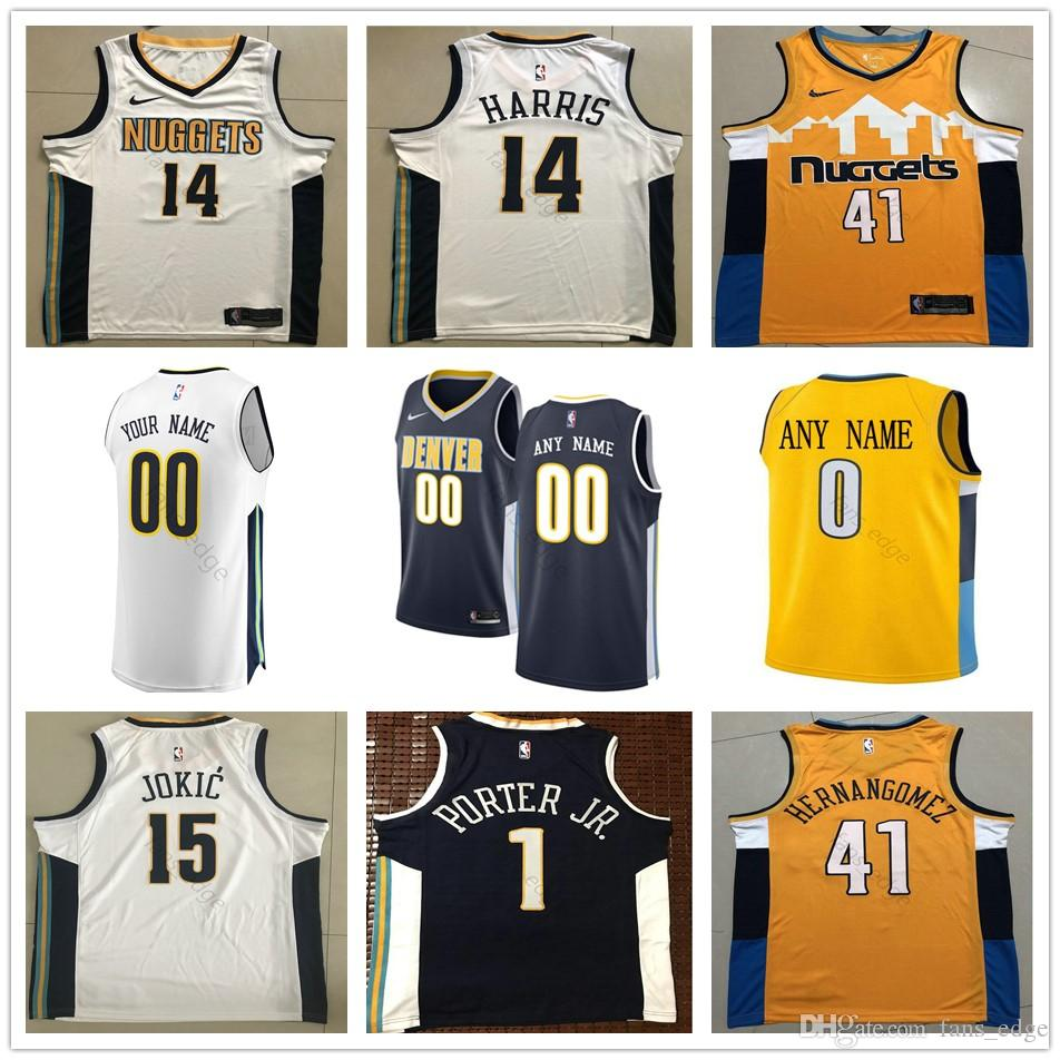 purchase cheap 453d6 bf5ec Printed Denver 15 Nikola 14 Gary Jokic Harris 4 Paul 5 Will Millsap Barton  27 Jamal 1 Michael Murray Porter Jr. Nuggets Basketball Jerseys