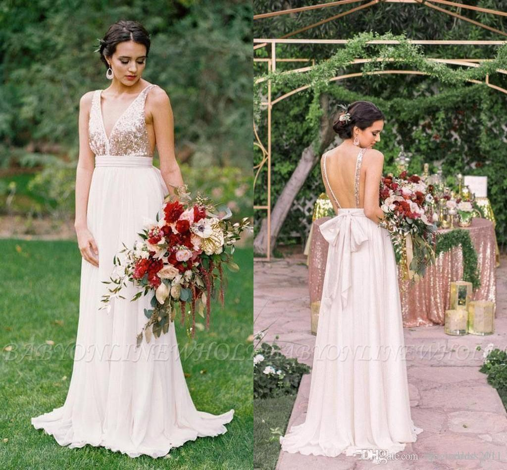 Sparkly Rose Gold Sequins Vestidos de dama de honor largos 2019 Summer Beach A Line Chiffon Cuello en V sin espalda Maid Of Of Honor Gowns BC2102