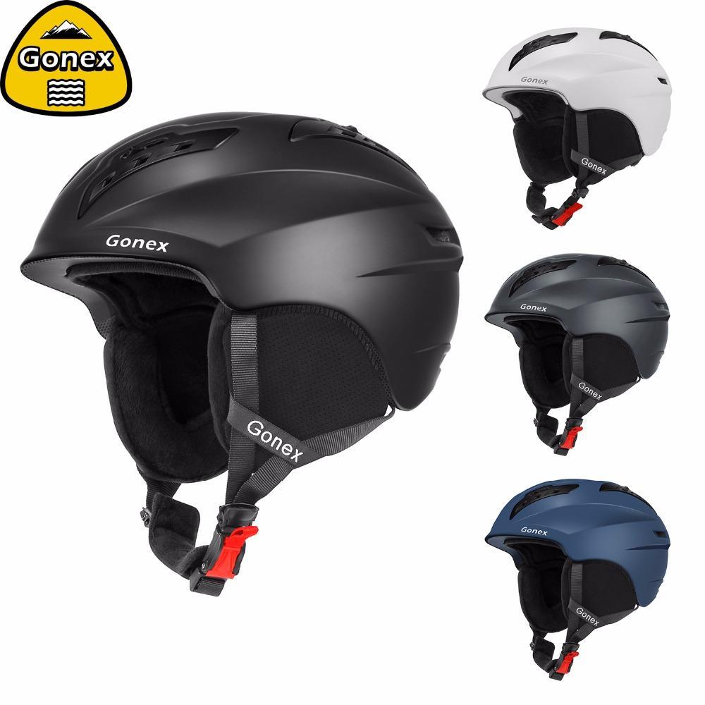 6927364952e Compre Gonex 2019 Fashion Ski Helmet Con Certificado De Seguridad Casco De  Snowboard De Nieve Moldeado Integralmente Para Deportes De Invierno Esquí  Hombres ...