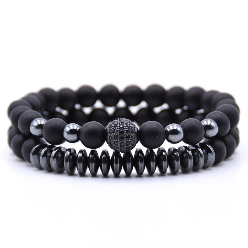 KANGKANG 2PCS/Set Matte Black Natural Stone Bracelet 8mm Elastic Rope Bead Hematite Bracelet Fashion Men Women charm Jewelry