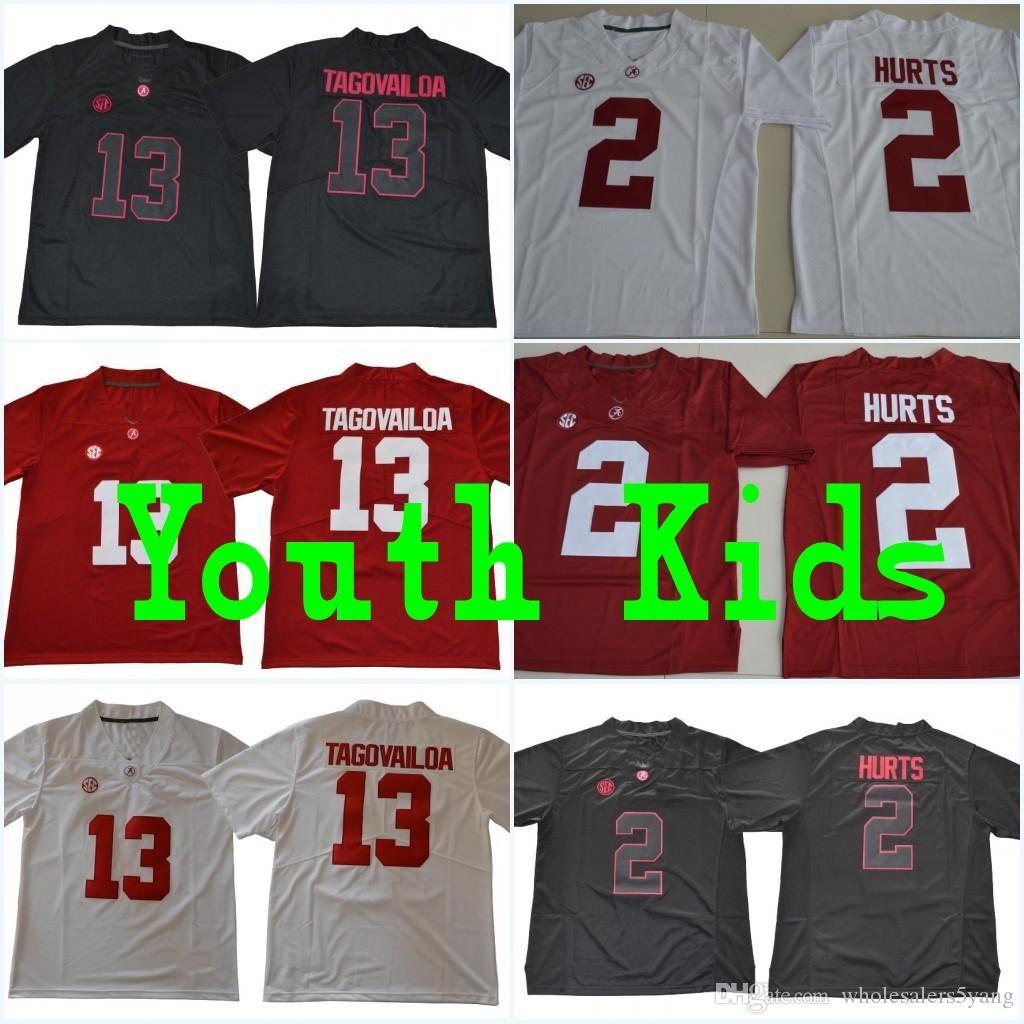 ... NCAA Jersey. Source · Youth  13 Tua Tagovailoa Kids  2 Jalen Hurts  Alabama Crimson Red White Black Name 0c1646fee