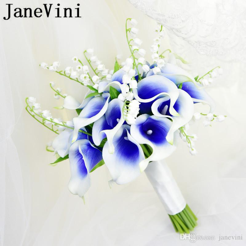Janevini Artificial Blue Flower Wedding Bouquets Calla Lily White