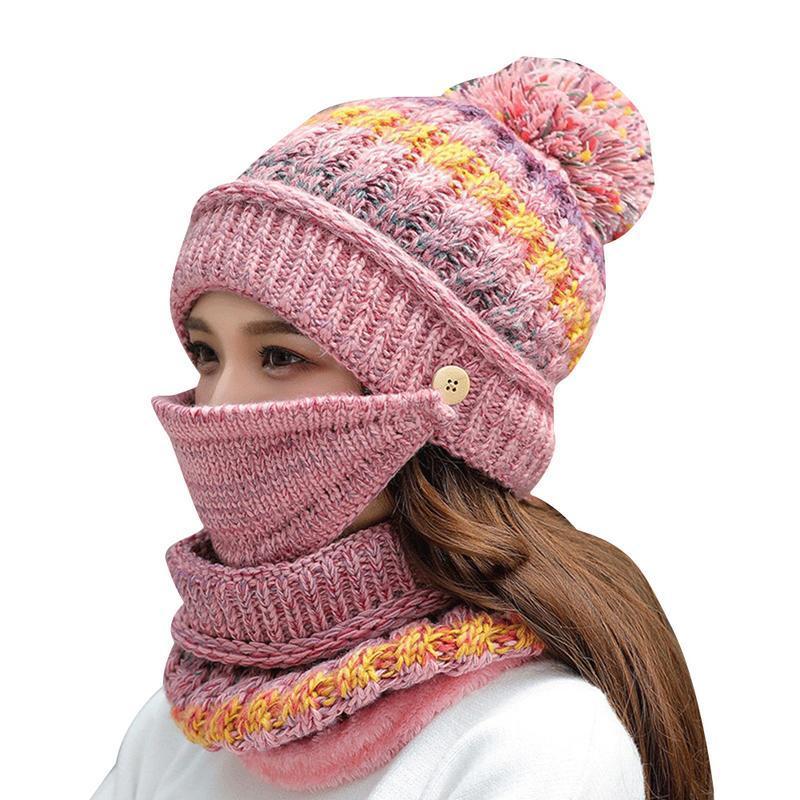 8adb5b6238e52 Compre Sombrero Mujer Invierno Cálido Lana Gorro De Punto Gorros Máscara  Cuello Bufanda Conjunto Dulce Lindo Para Dama Ciclismo Orejeras Frías  Cuello De ...