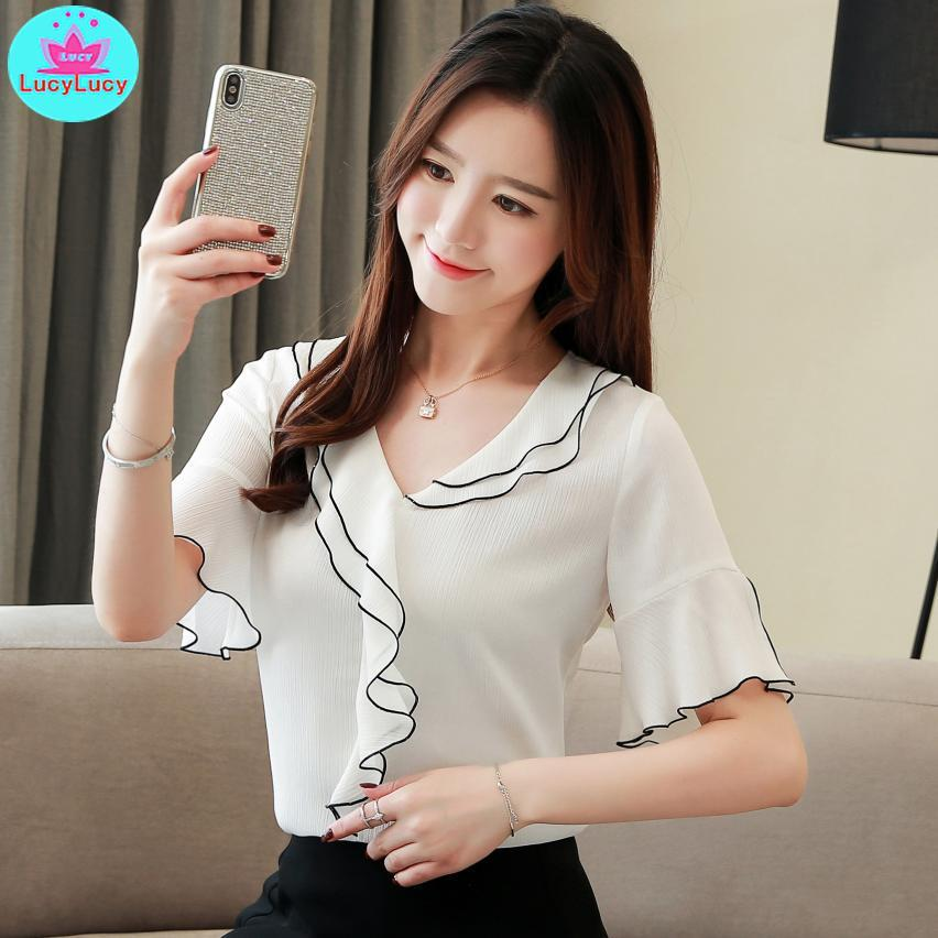 9632b594ede204 2019 2019 Korean Style White Half Sleeve Round Neck Chiffon Shirt Summer  New Fashion Ruffled Shirt Top Casual Solid Ruffled From Baxianhua, $33.24 |  DHgate.