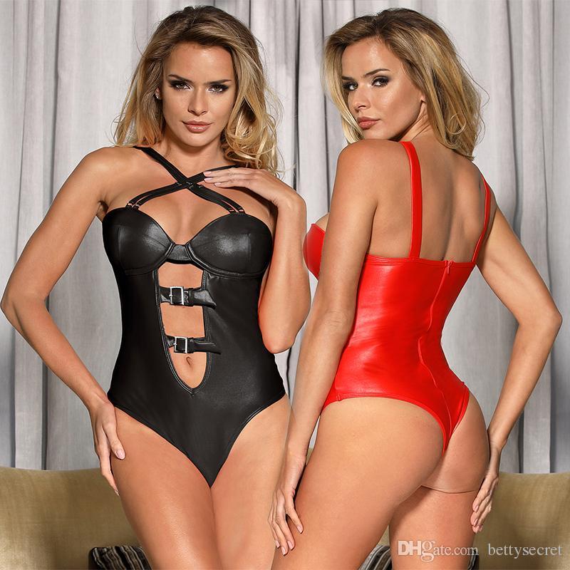 818c288c0d4c 2019 Wholesale Fashion PU Leather Women Sexy Teddy Sleeveless Halter Back  Open Bodysuit Plus Size Onesies From Bettysecret