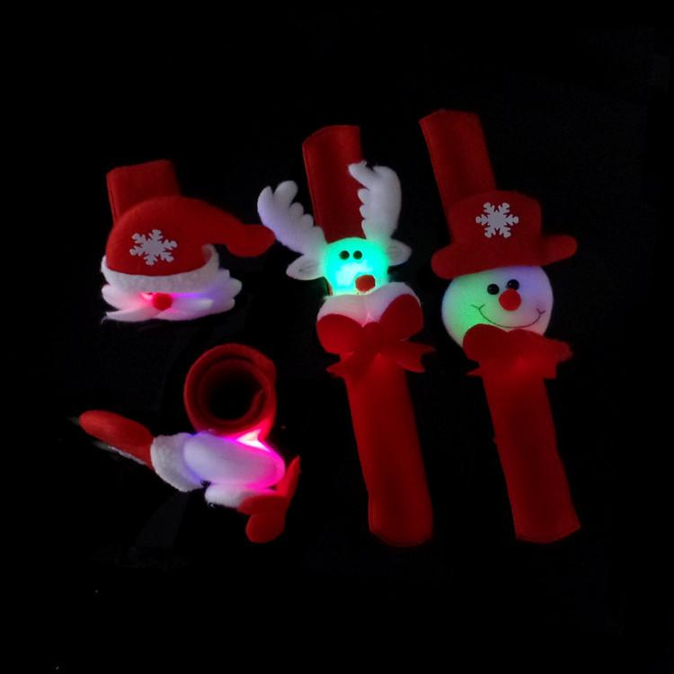 LED Kids Sequin Christmas Handband Bracelet Wristband Cartoon Christmas Deer Santa Claus Snowman Pat Circle Party Supplies Xmas Decorations