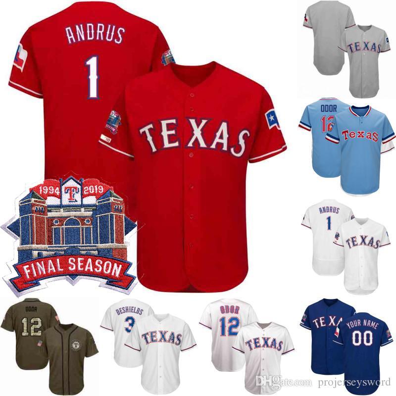 check out 0ee48 13f16 #12 Rougned Odor Jersey Final Season Texas 1 Elvis Andrus 8 Juan Centeno 17  Shin-Soo Choo 29 Adrian Beltre Rangers Baseball Jerseys