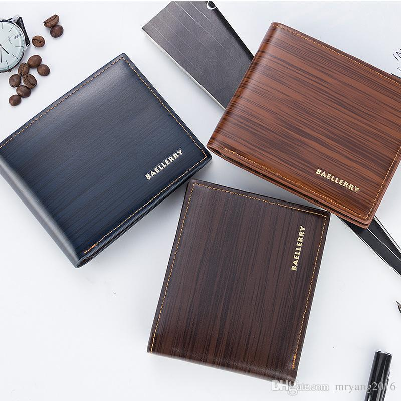 New mens short Horizontal type PU wallet Casual Style Open Card Holder Photo Holder Note Compartment BR005