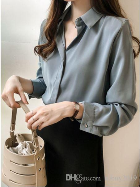 Chiffon shirts for women s summer 2019 new design feeling small market  light mature v-neck top long sleeve loose blouses spring226
