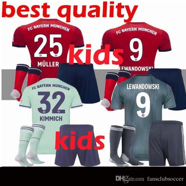 e3b3342e2dc8d Compre Kits Para Niños 2018 2019 Camiseta De Bayer 18 19 MULLER VIDAL  LEWANDOWSKI ROBBEN TOLISSO Camisetas De Fútbol De Casa JAMES Juvenil Camiseta  De ...