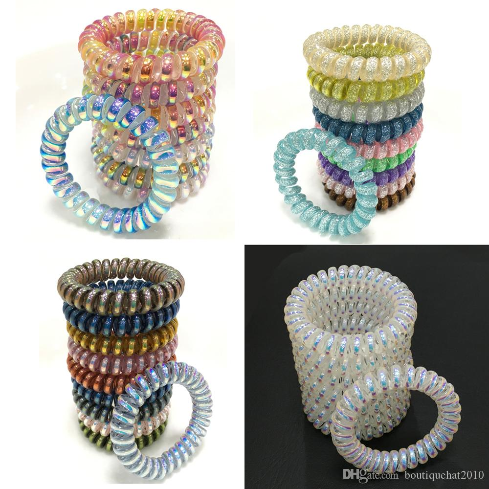 Colorful Elastic Girls Women Rubber Coil Hair Ties Spiral Shape Hair Ring Bands Ponytail Holders Accessories