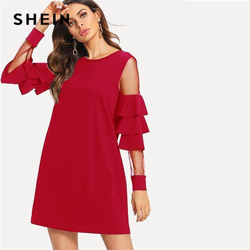 826dc5e65b6 SHEIN Burgundy Contrast Mesh Insert Tiered Layered Sleeve Bell Sleeve Ruffle  Dress Women Autumn Modern Lady Party Dress Long Womens Dresses Lace  Sundresses ...