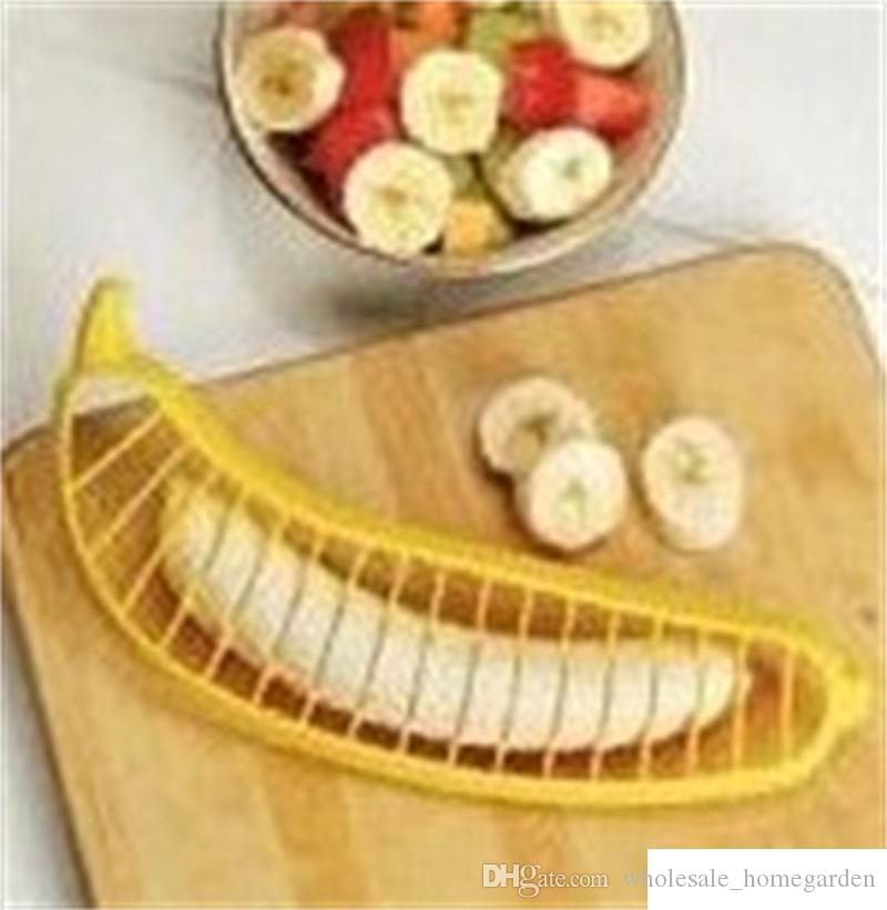 Yellow Banana Slicer Fruit Salad Sundaes Cereal Chopper Cutter Plastic Fast Easy To Use Kitchen Accessories New Arrival 1ck VB