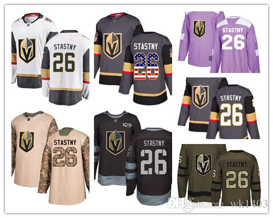 low priced 4316a 9dbc4 Vegas Golden Knights jerseys #26 Paul Stastny jersey ice hockey men women  gray white black Authentic winter classic Stiched gears Jersey