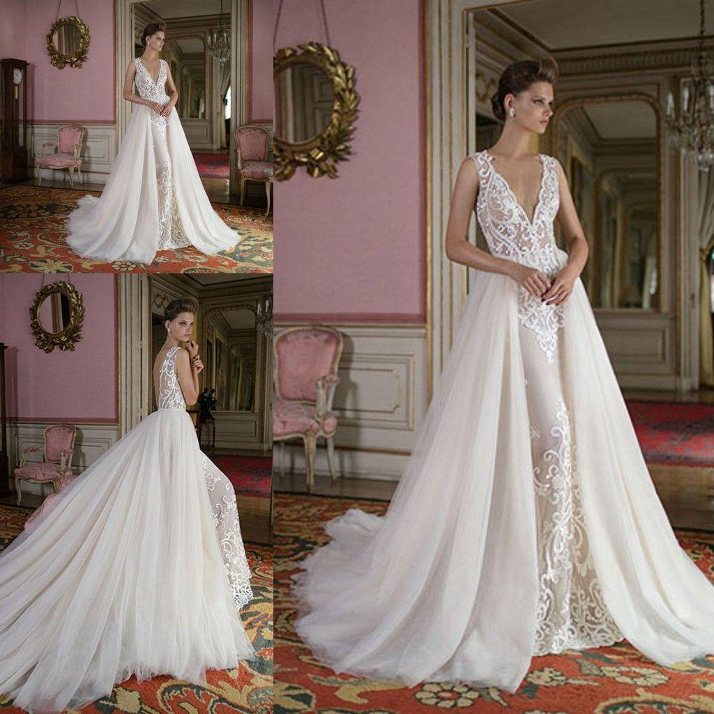 65b417eac08 2019 Vintage White Mermaid Wedding Dresses Lace Deep V Neck Cheap Detachable  Train Boho Lace Tulle Long Backless Bridal Gowns Custom Made Long Sleeve ...