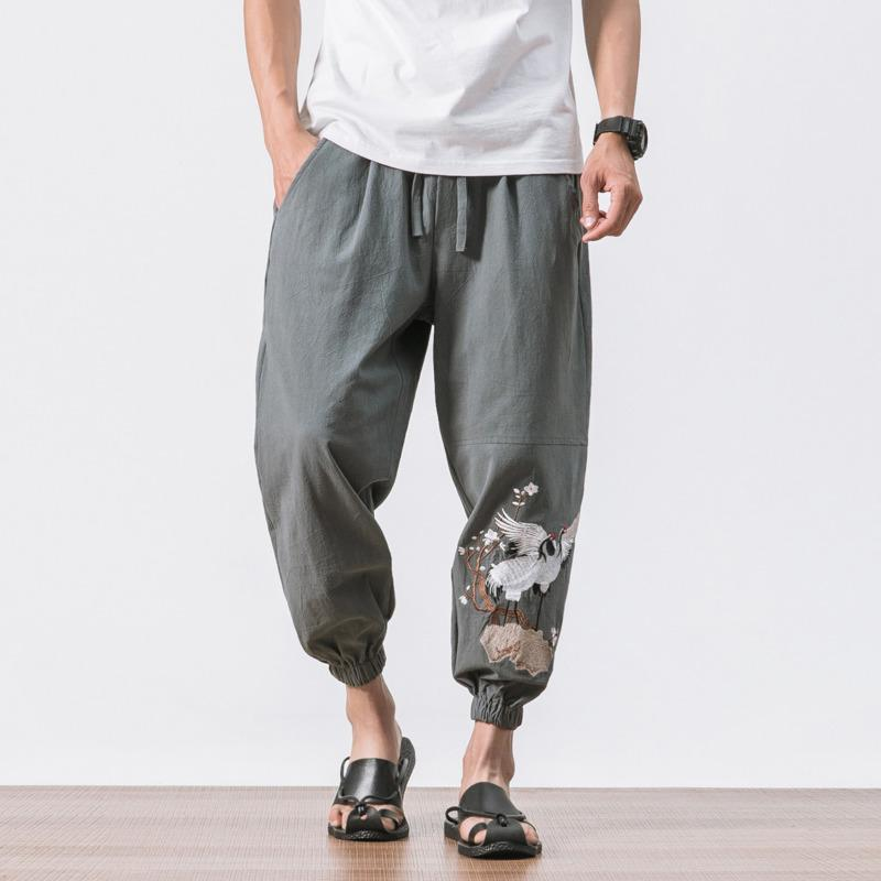 7777776334 2019 #4519 Vintage Streetwear Hip Hop Loose Retro Cotton Linen Harem Pants  Men Plus Size 5XL Embroidery Crane Sweat Pants Joggers From Yolkice, ...