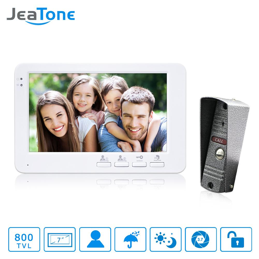 JeaTone 7 inch TFT Color Monitor 800TVL Camera Video Door Phone Intercom Security Speaker System Waterproof IR Night Vision