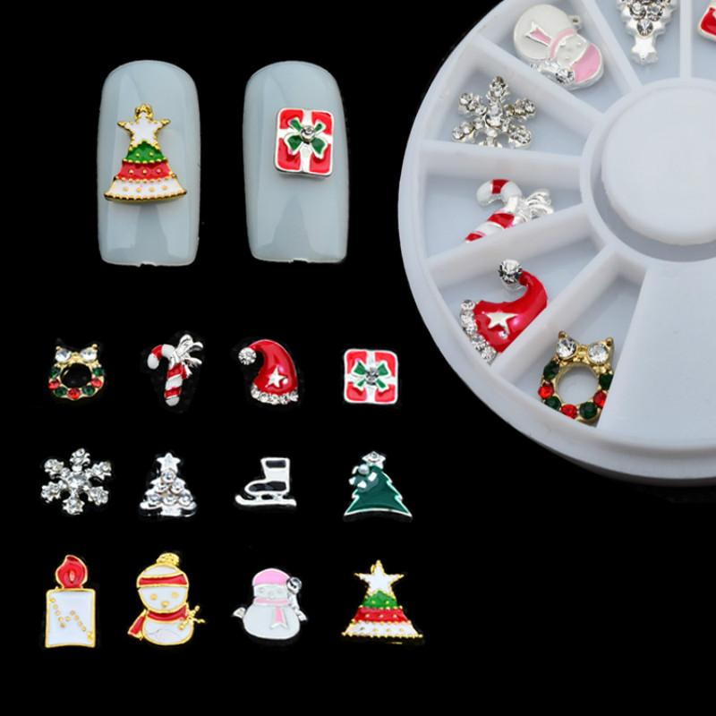 Nail Art Manicure Turntable Christmas Series Snowflake Christmas Gift 12 pcs/box Alloy Manicure 6cm Disc