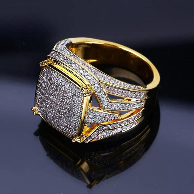 Jewelry & Accessories Fanala Men Ring Alloy Geometric Shape Fashion Rhinestone Men Rings Fashion Male Hip Hop Jewelry Gift Wholesale Latest Fashion Wedding & Engagement Jewelry