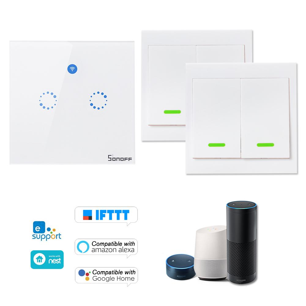 SONOFF T1 EU ITEAD 433MHz Smart WiFi Wall Light Switch RF/APP/Touch Control Timer For Google/Amazon Wireless RF Remote Control