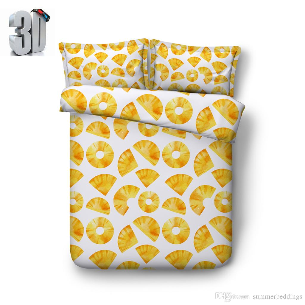 150x200CM 3D Fruit lemon print Duvet Cover with pillowcase Bedding 3 PCS Set, Microfiber Quilt Cover, Zipper Closure, NO Comforter