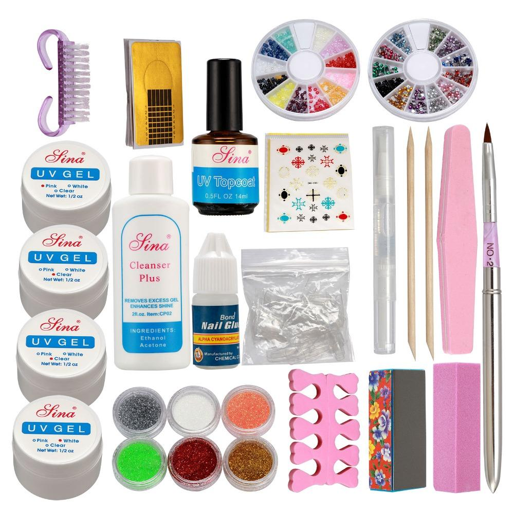 Venta al por mayor Pro Acrylic Glitter Nail Art Powder Glue File French UV Gel Tips Set Kit Kit de uñas postizas