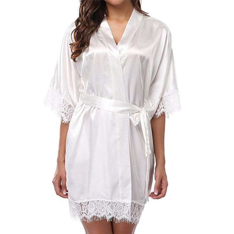 المرأة قصيرة الحرير العروس رداء مثير زفاف خلع الملابس ثوب الدانتيل الحرير كيمونو البشكير الصيف العروسة نوم