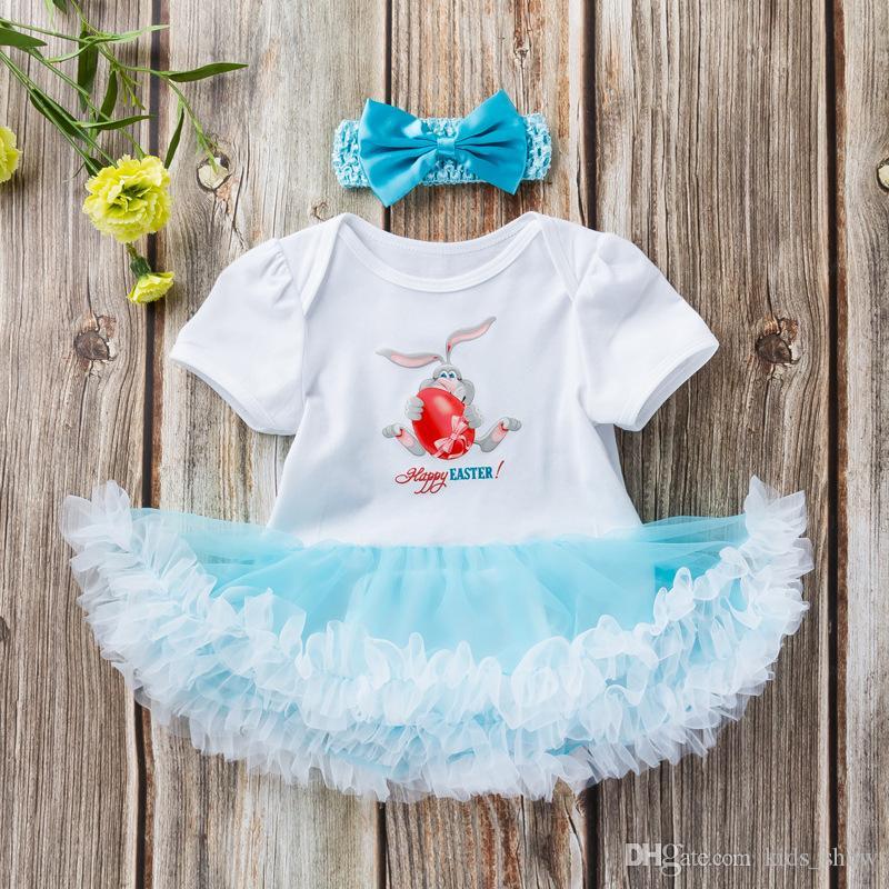 ada1416ac5b7 Baby Girls Easter Rabbit Colorful Eggs Printed Short Sleeve Romper ...