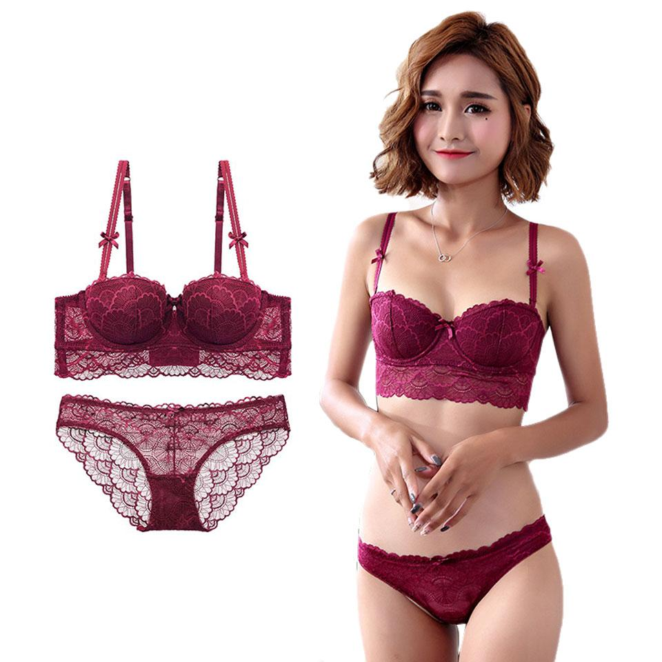 811b6d94d Compre Conjunto Calcinha Sutiã Sexy Lace Underwear Mulheres Bordado  Conjuntos De Sutiã Transparente Briefs Feminino Lingerie Push Up Girl  Lingerie Íntima De ...