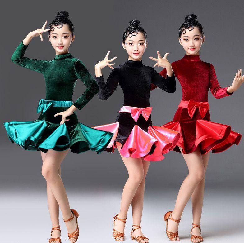d14d03be1 2019 2019 Girls Latin Dresses For Dancing Ballroom Dance Dress Rumba Samba  Spandex Children Samba Cha Cha Tango Skirt Standard Salsa From Haitan, ...