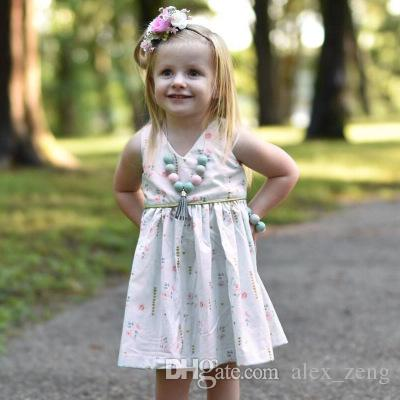 ce01013fd5c7 2019 Girls Floral Vest Dresses Summer New Girls Flowers Ruffles Cotton  Sleeveless Dresses Kids Lovely Boutique Clothing From Alex_zeng, $4.93 |  DHgate.Com