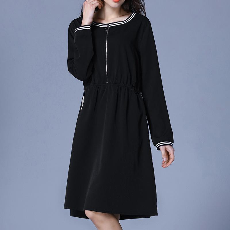 Plus Size Black Striped Zipper Long Sleeve Tunic Dress Women Elegant Casual  Sweet Office Party Fashion Beach Dress Lady Clothing