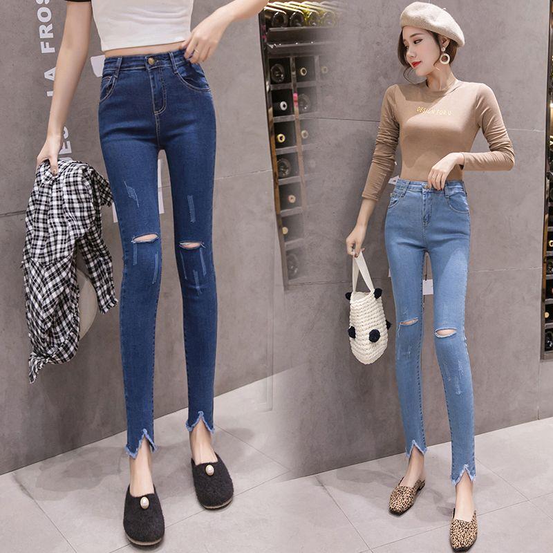 1778f1758db9 2019 Women Jeans Skinny Denim Pants 2019 Spring Summer Female Sexy Slim  Casual Hole Elastic Stretch Demin Pencil Pant Tight Trouser From Xianfeiyu