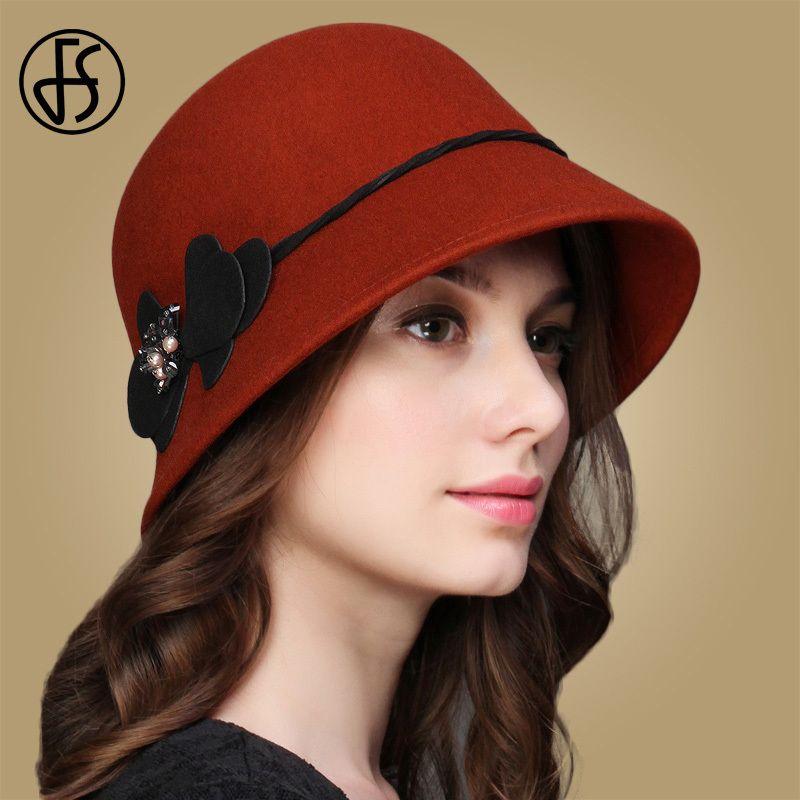 101ac560ab5 FS 100% Wool Women Vintage Cap Flower Wide Brim Hats Dome Bell Felt Fedora  Winter Elegant Church Caps Brown Grey Black Brick Red D19011102 Trilby Hat  Top ...