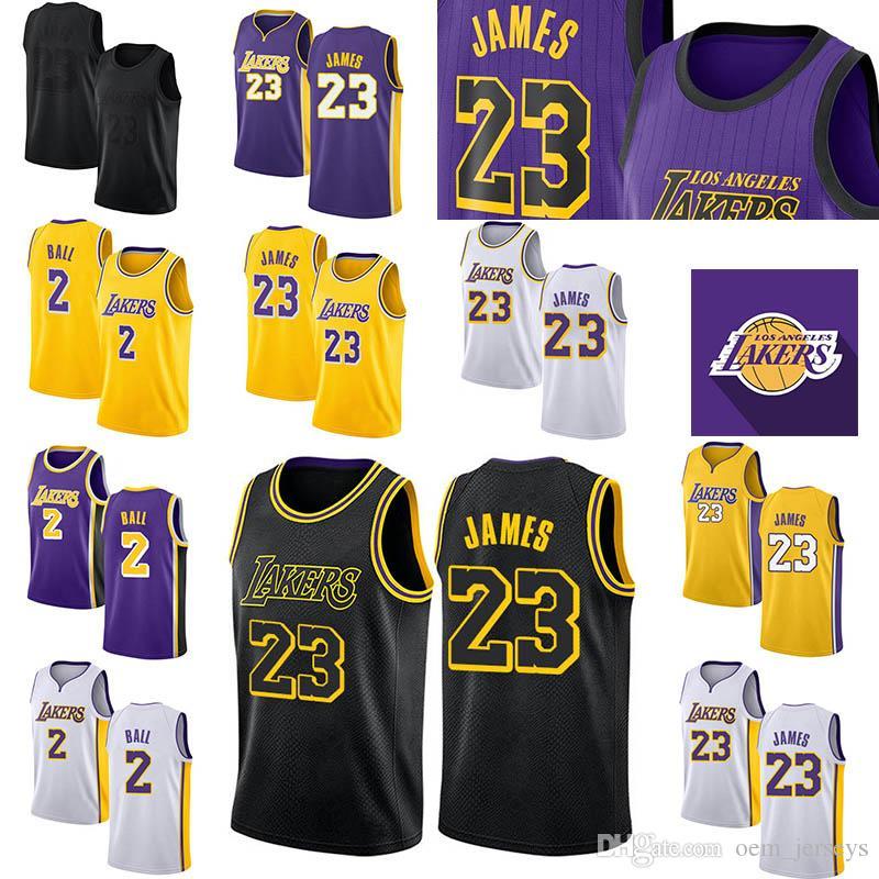 best service 44da0 d07e9 Hot Los Angeles 23 James 0 Kuzma 2 Ball Mens Jersey White Black Cool  Breathable Stitched Jersey