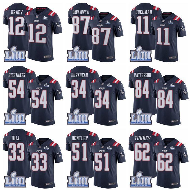 956b4ba57 2019 87 Rob Gronkowski 12 Tom Brady Jersey New Englandg Patriots Navy Blue Super  Bowl LIII Bound Rush Vapor Untouchable Football Jersey From Taishan01