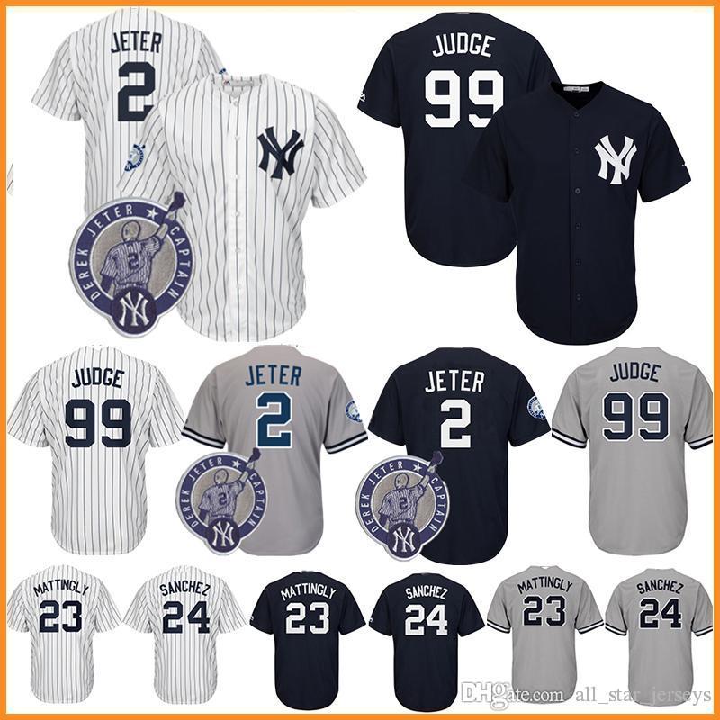 promo code 613c4 8d7b4 25 Gleyber Torres New York Jersey Yankees 99 Aaron Judge 2 Derek Jeter 23  Don Mattingly 24 Gary Sanchez 3 Babe Ruth 7 Mickey Mantle