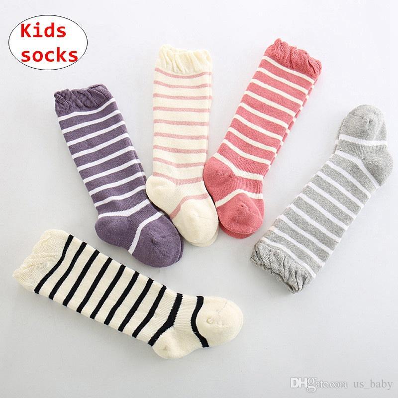 d3e1ff586 Baby Winter Thicken Socks Toddler Boy Girl Stripe Knee High Socks ...