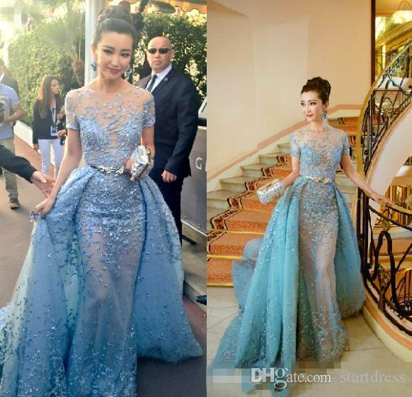 Eleagnt Light Sky Blue Zuhair Murad Evening Dresses With Short Sleeves  Appliques Lace Tulle Over Skirt Celebrity Dress Long Formal Prom Gown  Beautiful ... 950d656e6f82