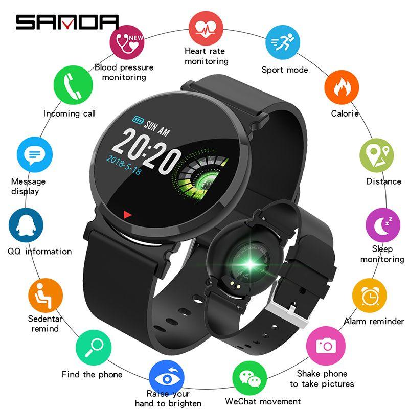 9119f1a0cc1a Compre 2019 Relojes Inteligentes SANDA Malla De Silicona Reloj Inteligente  IP67 Impermeable Monitor De Ritmo Cardíaco Presión Arterial Hombres Mujeres  ...
