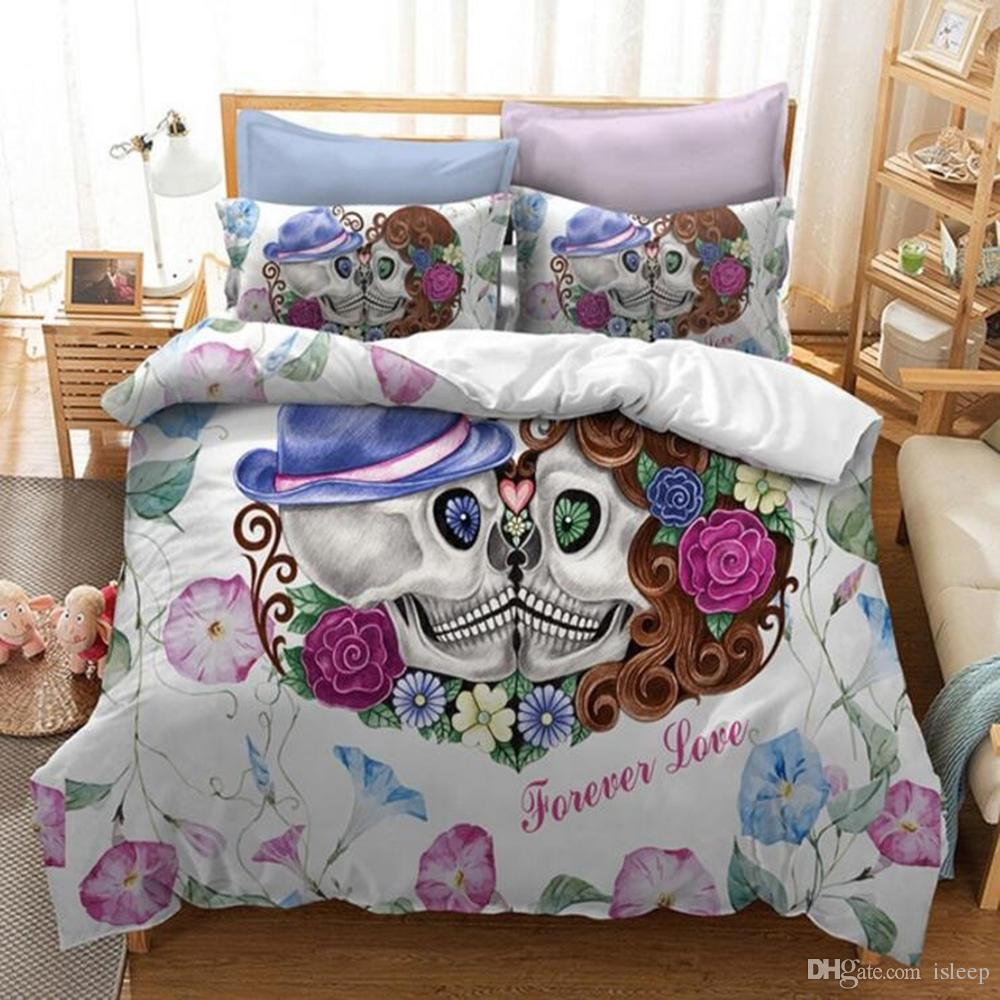 3D Printing Carton Couple Kiss Skull 2/3 Pcs Bedding Set With Pillowcase For All Size