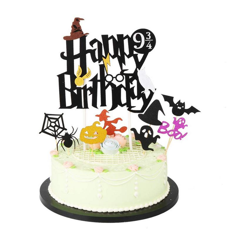 Happy Birthday Cake Topper.Happy Birthday Cake Topper Halloween Theme Birthday Cake Toppers Decoration Cupcake Paper Flags For Unicom Party Dcor