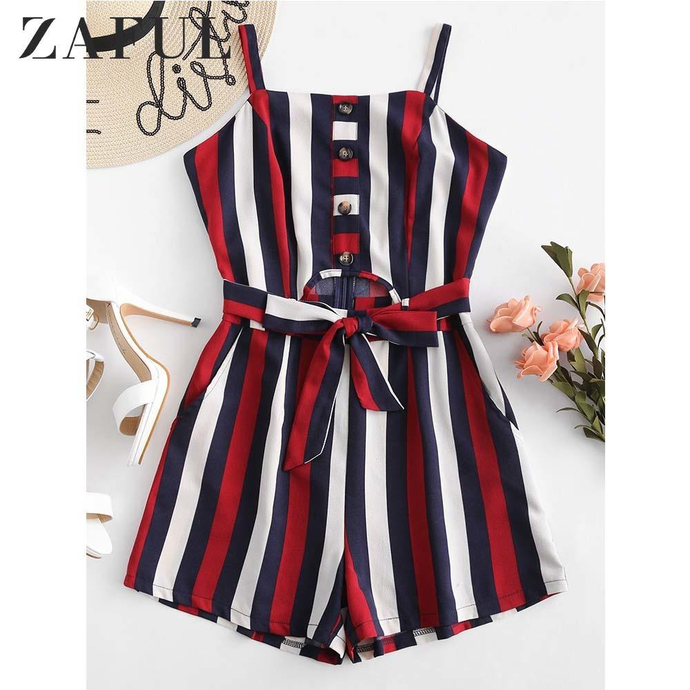 a036bb689 2019 ZAFUL Half Buttoned Striped Cut Out Romper Overalls Summer Pockets  Square Collar Sleeveless Belted Jumpsuit Women Rompers 2019 Y190424 From  Gou01, ...