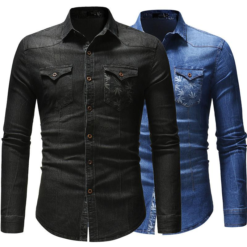 ebfa6cc84 2019 Men Denim Shirt 2019 New Male Blouse Long Sleeve Turn Down Collar Tops  Casual Solid Color Denim Slim Fit Denim Shirts Mens 3XL Clothes From ...